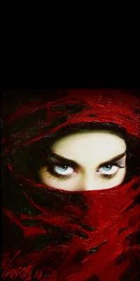 Аватар вконтакте Лицо девушки с голубыми глазами наполовину закрытое покрывалом, художник Тарас Лобода