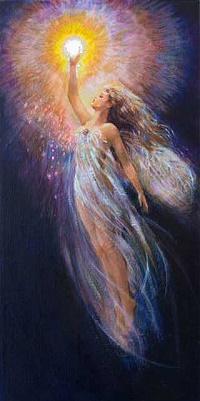 Аватар вконтакте Девушка - ангел прикасается к яркому солнцу, художница Mary Baxter St. Clair