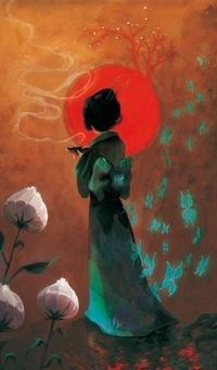 Аватар вконтакте Восточная девушка стоит на фоне огромного красного Солнца, с растущими на нем деревьями и держит чашу с благовониями, сзади летают голубые бабочки, by Beyondthechuch