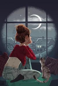 Аватар вконтакте Девушка и кошка смотрят лунной ночью в окно и мечтают о любви ;)