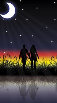 Аватар вконтакте Пара влюбленных стоят на берегу на фоне камыша, луны неба и звезд