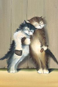 Аватар вконтакте Два кота после вечеринки, стоят обнявшись, с кружкой и колбасой в лапах