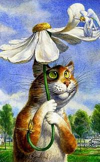 Аватар вконтакте Рыже-белый кот держит в лапах ромашку, как зонтик и смотрит на ангела стоящего на лепестках