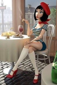 Аватар вконтакте Француженка в уличном кафе с сигаретой и бокалом вина на столе