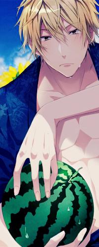 Аватар вконтакте Heiwajima Shizuo / Хейваджима Шизуо держит в руках арбуз, из аниме Durarara / Дюрарара / Всадник без головы