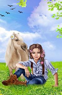 Аватар вконтакте Девочка с темными волосами, заплетенными в косички сидит на лугу на фоне лошади с ромашкой в гриве, веток с листьями, неба с облаками и летящих птиц