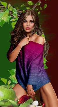 Аватар вконтакте Девушка-шатенка с длинными волосами, голубыми глазами на фоне листьев, розы и зеленого яблока
