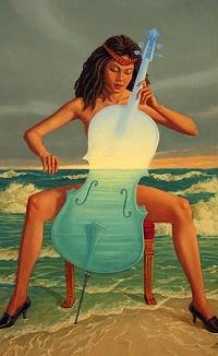 Аватар вконтакте Девушка играет на виолончели на фоне моря, by Marcin Kołpanowicz
