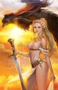 Аватар вконтакте Обнаженная девушка с мечом стоит рядом с драконом