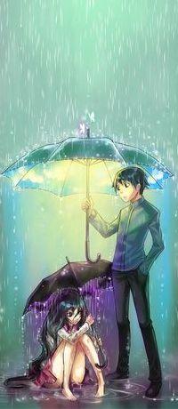 Аватар вконтакте Парень держит раскрытый зонтик с подсветкой изнутри над сидящей в воде девушкой, с раскрытым зонтом