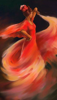Аватар вконтакте Девушка в красном платье танцует фламенко