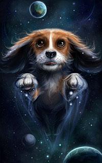99px.ru аватар Собака летящая в космосе, работа Звездная собака, художница Наталья Мотуз