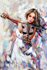 Аватар вконтакте Девушка играет на скрипке, художник Александр Гунин