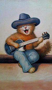 Аватар вконтакте Рыжий кот в синих брюках и шляпе играет на гитаре, художник С. В Каширин