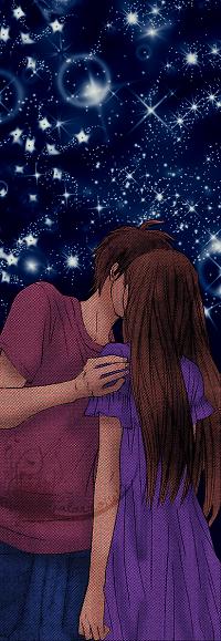 Аватар вконтакте Парень целует девушку на фоне звездного неба