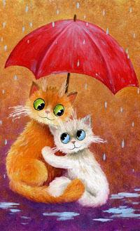 Аватар вконтакте Рыжая кошка с зелеными глазами и белый голубоглазый котенок сидят под красным зонтом, художник Сергей Данилов