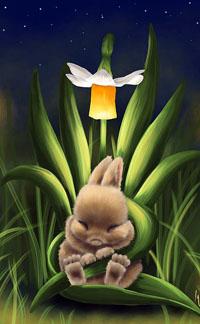 Аватар вконтакте Кролик спит на листьях нарцисса, by Veronica Minozzi
