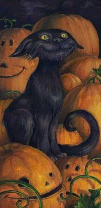 Аватар вконтакте Черный кот сидит на тыквах, праздник Хэллоуин, by Cris Ryniak