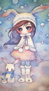 Аватар вконтакте Девочка в шапке с заячьими ушками около ее два зайчонка, by Juri Ueda