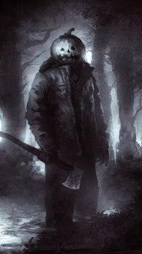 99px.ru аватар Человек с топором и тыквой helloween на голове среди леса