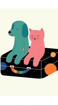 Аватар вконтакте Пес и кот сидят на чемодане