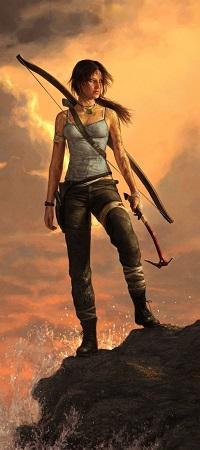 Аватар вконтакте Lara Croft / Лара Крофт - Расхитительница гробниц стоит на камне на фоне заката из игры Tomb Raider