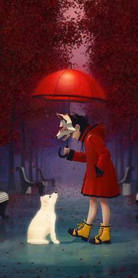 Аватар вконтакте Белый щенок сидя на парковой аллее, поднял вверх голову и смотрит на наклонившуюся к нему девочку в красном пальто, желтых ботинках, с маской волка на голове и под красным зонтиком, by Alkon