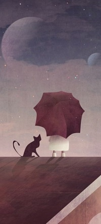Аватар вконтакте Девочка с зонтиком и кошка на крыше дома