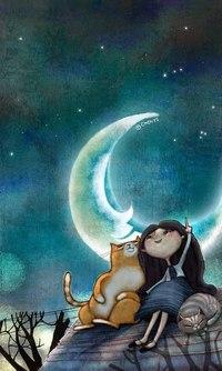Аватар вконтакте Девочка с котами сидит на крыше дома