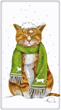 Аватар вконтакте Кот в шарфике сидит под падающим снегом