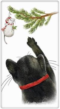 Аватар вконтакте Котик тянется лапой к елочной игрушке-мышке