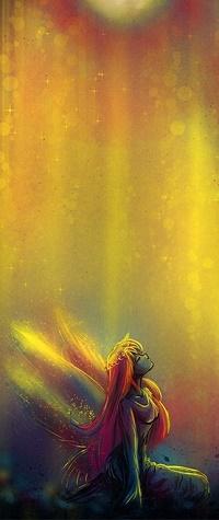Аватар вконтакте Девушка с крылышками смотрит вверх, by Axsens