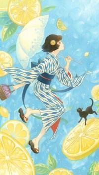 Аватар вконтакте Девочка в кимоно и гэта бежит с кошкой по лимонным облакам