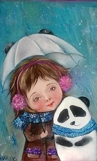 Аватар вконтакте Девочка и панда прижавшись друг к другу, спрятались под зонтиком от первых снежинок, исходник Алина Далинина