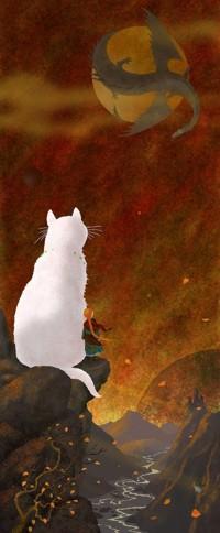 Аватар вконтакте Большая белая кошка и девочка стоят на краю утеса и смотрят на дракона, закрывающего Солнце, художник Дим Резчиков