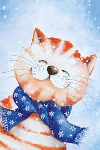 Аватар вконтакте Улыбающийся рыже-полосатый кот в синем шарфике со снежинками, by An Melis