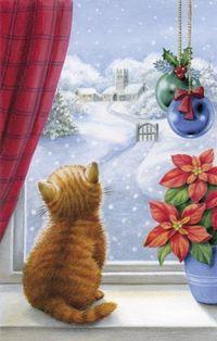 Аватар вконтакте Котенок сидит на подоконнике и смотрит на зимний пейзаж за окном, by Lisa Alderson
