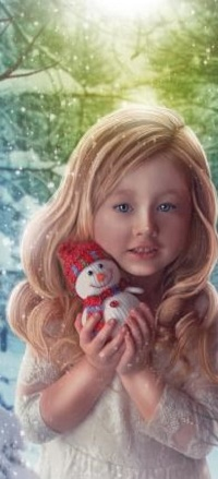 Аватар вконтакте Девочка со снеговиком в руках