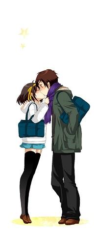 99px.ru аватар Suzumiya Haruhi / Харухи Судзумия и Itsuki Koizumi / Итсуки Коизуми целуются из аниме Меланхолия Харухи Судзумии / The Melancholy of Haruhi Suzumiya / Suzumiya Haruhi no Yuuutsu