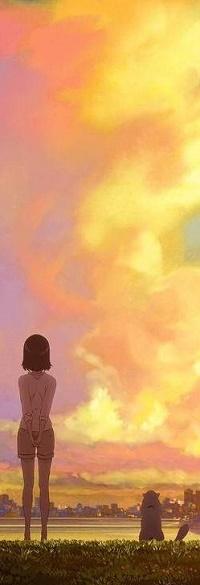 Аватар вконтакте Мию / Miyu и Дару / Daru из аниме Она и ее кот: Все меняется / Kanojo to Kanojo no Neko: Everything Flows любуются облачным небом в красках заката