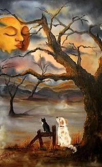 Аватар вконтакте Пес с кошкой сидят у дерева и смотрят на небо