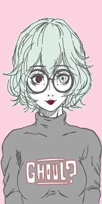 Аватар вконтакте Синеволосая девушка c разными глазами в очках на розовом фоне (Ghoul?/Упырь?)