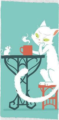 Аватар вконтакте Кошка с чашкой горячего чая сидит у стола перед мышкой, by freeminds
