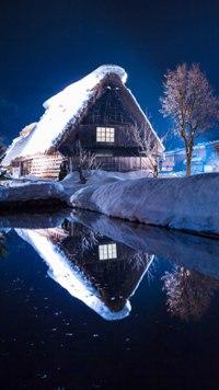 Аватар вконтакте Домик у озера зимней ночью