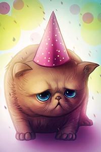 Аватар вконтакте Грустный котик в праздничном колпаке на фоне разноцветного боке, работа HAPPY BIRTHDAY by JoJoesArt