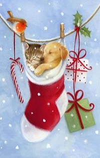 Аватар вконтакте Котенок со щенком в новогоднем сапожке подвешены к веревочке