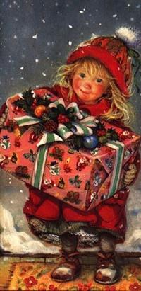 Аватар вконтакте Девочка с большим подарком в руках