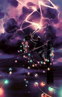 Аватар вконтакте Музыкант стоя на столбе, протянул и подзаряжает от молнии на небе электричеством гитару с проводами, на которых висят горящие лампочки, by AquaSixio (Cyril Rolando)