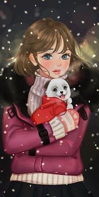Аватар вконтакте Девочка со щенком на руках под падающим снегом