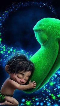 Аватар вконтакте Мальчик с нежностью обнимает голову зеленого дракона, мультфильм Добрый динозавр / The Good Dinosaur